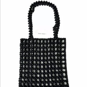 Unique handmade beaded black bag handcrafted new